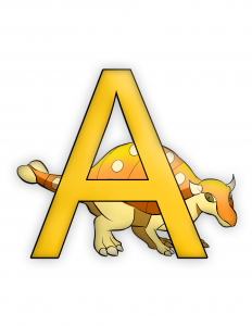 Ankylosaurus Letter A Dinosaur Alphabet color image