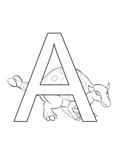 Ankylosaurus Letter A Dinosaur Alphabet coloring page