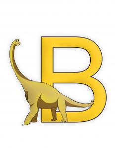 Brachiosaurus Letter B Dinosaur Alphabet color image