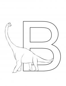 Brachiosaurus Letter B Dinosaur Alphabet coloring page