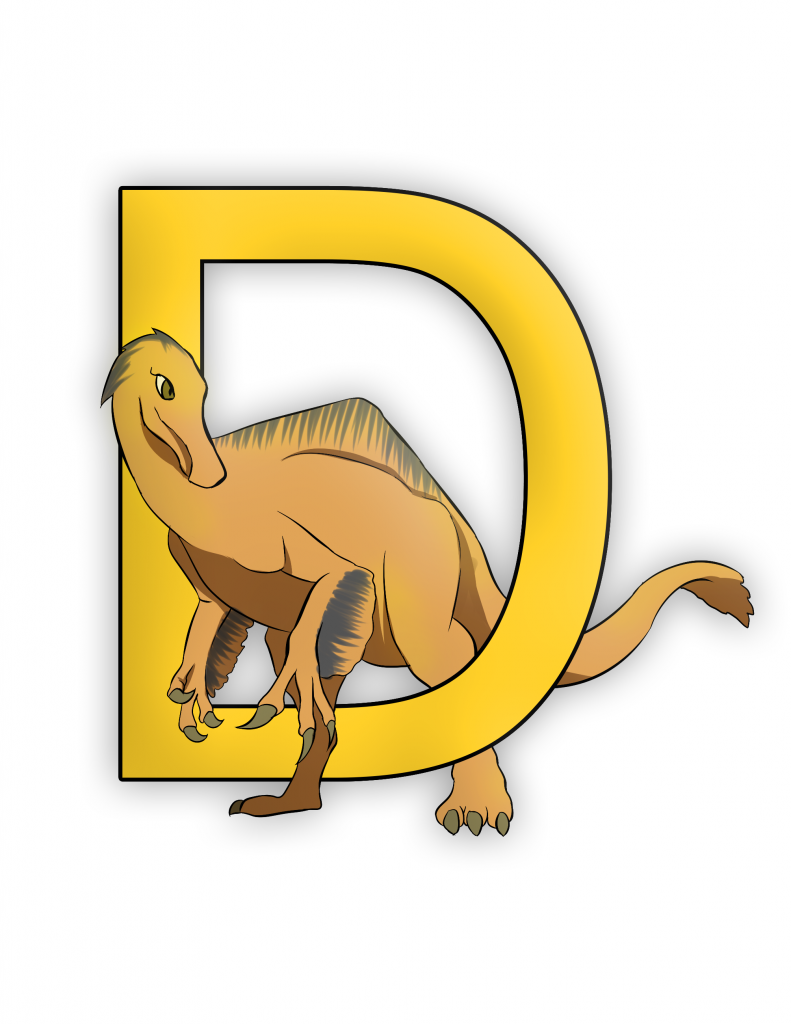 Dienonychus Letter D Dinosaur Alphabet Color Image