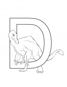 Dienonychus Letter D Dinosaur Alphabet Coloring Page